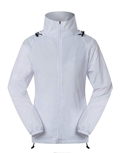 Spmor Women's Lightweight Jackets Waterproof Windbreaker Jacket Running Coat S White
