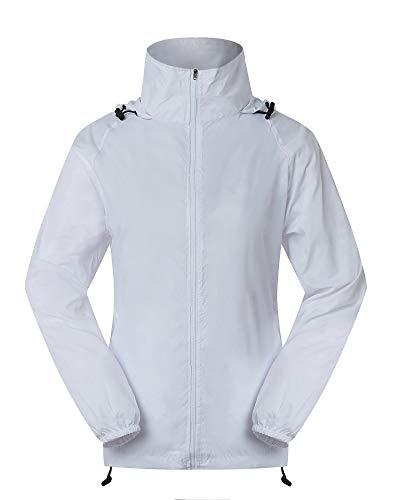 Cheering Spmor Women's Lightweight Jackets Waterproof Windbreaker Jacket Running Coat XL White