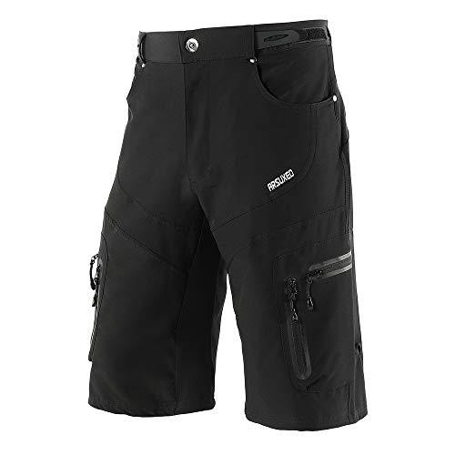Lixada Shorts de Cyclisme, Hommes VTT Mountain Bike Sport Shorts Respirant Mesh Back Design Shorts pour Sports de Plein air Course à Pied Running Gym Training,Noir,XL