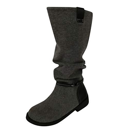 Dorical Damen Vintage Knight Stiefeletten,Damen Stiefel mit 3 cm Blockabsatz Flach Kurze Stiefel Wildleder Slip-On Trekkingstiefel(Grau,42 EU)