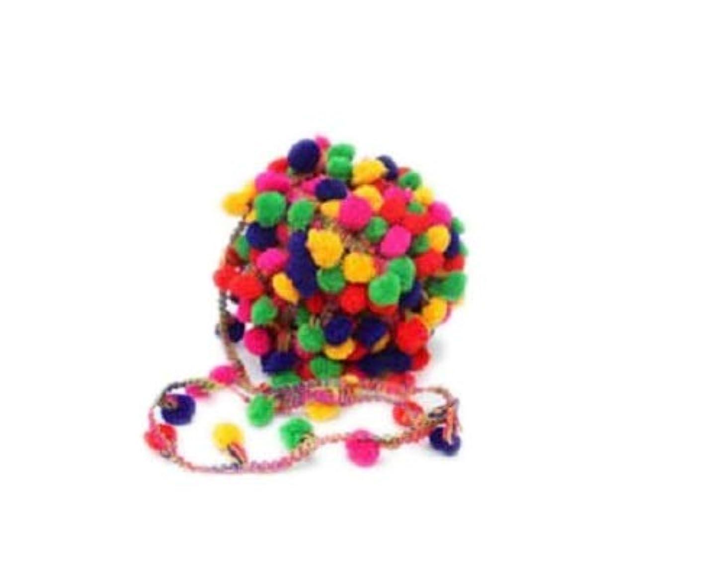 Indian Accent Multicoloured Pom pom Trim Lace Ribbon Dress Decor Fringe (27 yd)