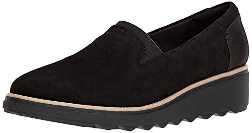Clarks Women's Sharon Dolly Loafer, Black Suede, 5 M US