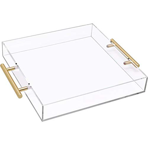 Acrylic Serving Tray with Gold Handle, Clear Large Square Breakfast Tray for Food Coffee Bread Table Kitchen(12x12 inches)