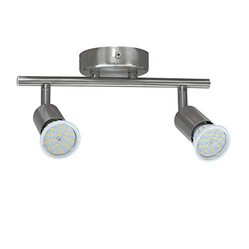Abishion LED Deckenleuchte Schwenkbar inkl. 2x5.5W GU10 LED Lampen Nicht Dimmbar,Warmweiß 3000K,600LM,2 Flammig Deckenstrahler für Küche,Wohnzimmer, Schlafzimmer.