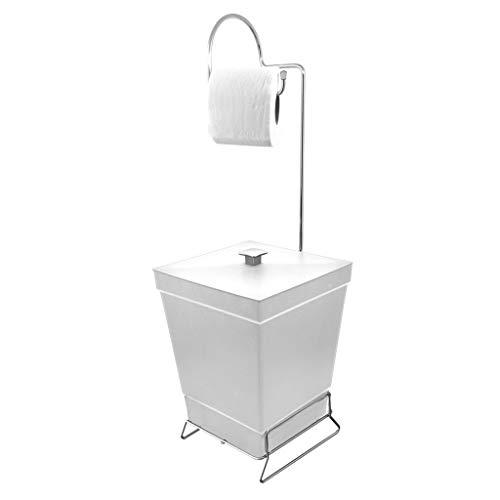 Suporte Para Papel Higiênico Com Lixeira De Chão Banheiro Branco