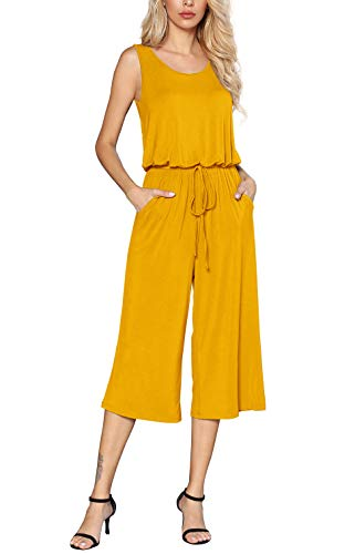 Euovmy Women's Casual Sleeveless Loose Wide Legs Elasitic Waist Long Jumpsuits with Pockets Yellow Large