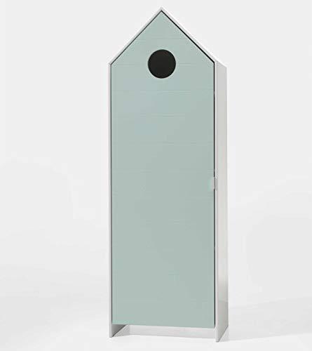 Vipack CASAMI Armadio con 1 anta color menta, profilo scanalato orizzontale, struttura in MDF laccato, colore bianco/profilo scanalato orizzontale.