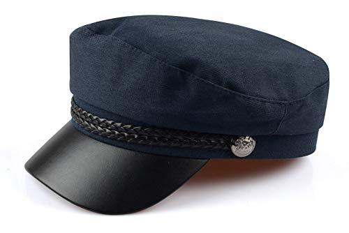 WAZHX Sun Casual Gorras Militares Mujer Algodón Boina Sombreros Planos Capitán Cap Trucker Vintage Negro Deporte Papá Hueso Hombre Sombrero De Cuero para Mujer XXL Azul