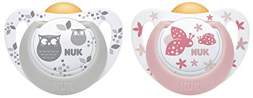 NUK Genius Schnuller | 6-18 Monate | BPA-freie Schnuller aus Silikon | rosa & grau | 2 Stück