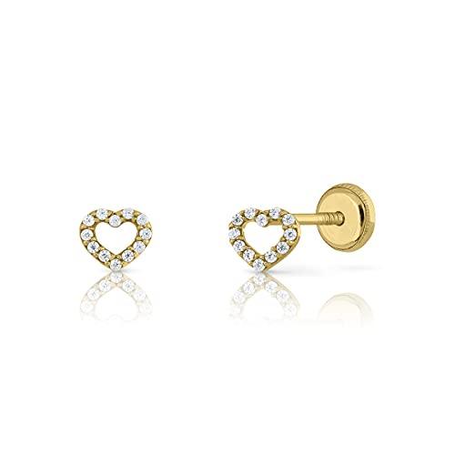 Pendientes Oro/Niña/Mujer. Corazón con circones. Cierre de seguridad a rosca. Medida 5 mm (1-5546)
