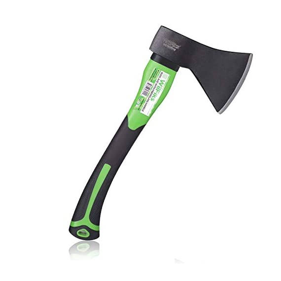 """WilFiks Chopping Axe, 15"""" Camping Outdoor Hatchet for Wood Splitting and Kindling, Forged Carbon Steel Heat Treated Hand… 1 ► EASY TO USE: Our Wood Chopping Axe is designed for easy chopping Of Firewood, Logs, Kindling and Branches. The Optimized blade geometry is designed for maximum efficiency to give you more one-strike splits. Ideal for campers, hikers, outdoor activities, preparing wood for bonfires and garden work. ► DURABLE CONSTRUCTION: The Forged Carbon Steel Heat Treated blade which improves its density and makes the axe more durable produces smooth, sharp, and quick splits and stays sharp longer than traditional axes. You can count on this Hand Axe to deliver superior, long lasting performance. ► ERGONOMIC DESIGN: Our Hatched is Designed with a Shock Absorbing Anti Slip Grip, Cold Resistant Ergonomic Shaped Fiberglass Handle which will reduce the strain on your hand, resists slipping and adds comfort."""