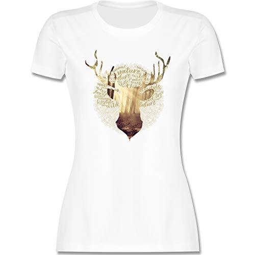 Oktoberfest Trachtenshirt Damen Party Trachten - Hirsch - M - Weiß - goldenes Tshirt Damen - L191 - Tailliertes Tshirt für Damen und Frauen T-Shirt