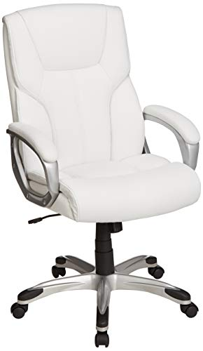 AmazonBasics High-Back Executive Swivel Office Desk Chair - White with Pewter Finish, BIFMA Certified