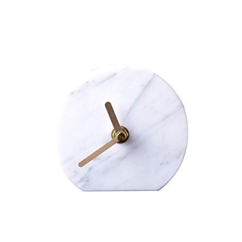 LYM $ Reloj Despertador Digital Reloj de Escritorio Adornos de mármol Natural Sala de Estar Moderna y Moderna Cabeza de Reloj de Mesa Personalidad Creativa Reloj silencioso