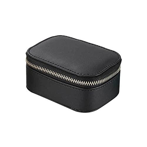 Simple Jewelry Box Faux PU Pendientes Pendientes Collar Pulsera Almacenamiento Europeo Estilo Portátil Viajes Joyería Organizador (Color : Black)