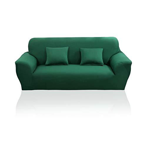 YuuHeeER 1 funda elástica para sofá de color sólido, cubierta decorativa, elástica, antideslizante, verde, 1 plaza, color verde oscuro