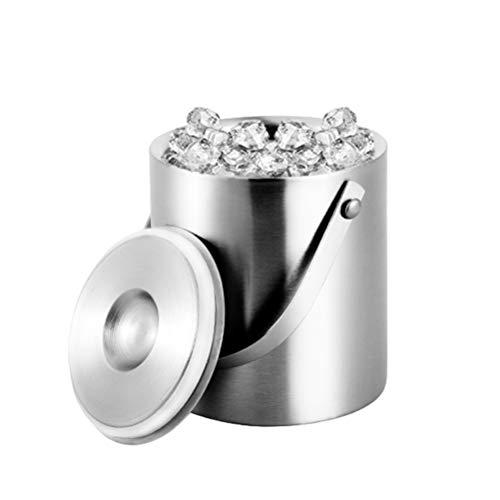 Cubitera hielo de acero inoxidable para cubos Recipiente para vino/champaña con pinzas y tapas, cubo de hielo ideal para fiestas, asados, cervezas, etc,2L
