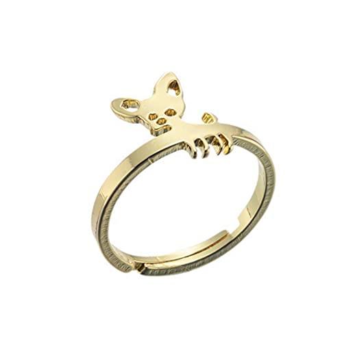 Anillos lindos del perro del animal doméstico para las mujeres abiertos anillos ajustables para las niñas anillos articulados joyería para el amante del perro, Acero inoxidable,