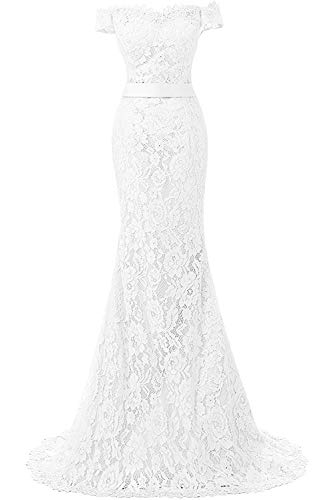 DINGZAN Off Shoulder Cap Sleeves Mermaid Lace Wedding Reception Dress Prom Gowns Mother of The Bride 20 White