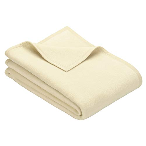Ibena Porto Kuscheldecke 150x200 cm - Wolldecke wollweiß einfarbig, pflegeleichte Baumwollmischung, kuschelig weich und angenehm warm