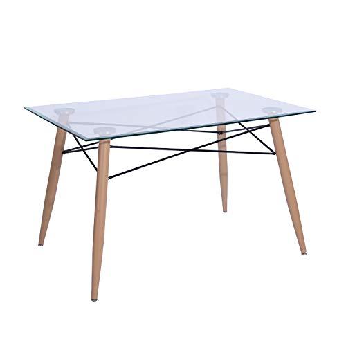 DORAFAIR Esstisch Rechteckig Glas Küchentisch Wohnzimmer Tisch, Skandinavisch Beistelltisch, 110 * 70 * 73, Transparent