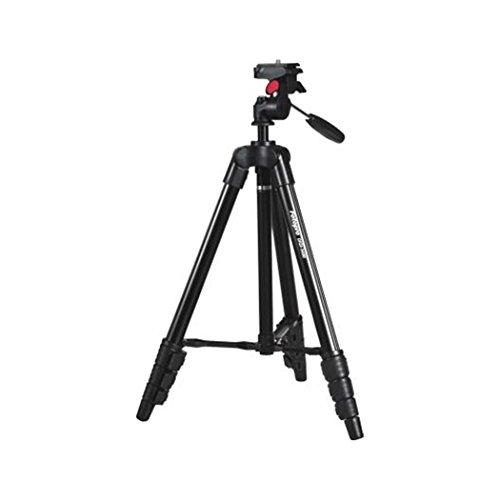 Rollei Compact Traveler Star S1 (ex DIGI 3400) I treppiede video compatto in alluminio I fino a 2 kg di carico utile I incl. testa del treppiede e borsa del treppiede I Nero