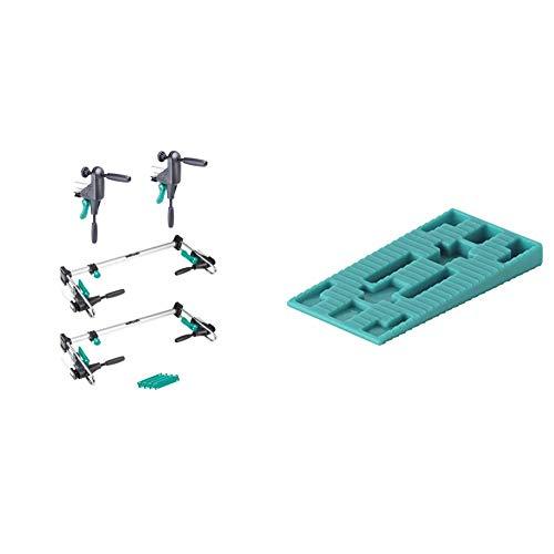 wolfcraft Türfutter-Montageset PRO 3676000 - 8-teiliges Heimwerker-Set inkl. Richtzwingen, Türfutterstreben und Ausgleichsunterlagen & 6930000 40 Abstandskeile