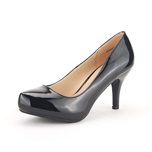 DREAM PAIRS Tiffany Women's New Classic Elegant Versatile Low Stiletto Heel Dress Platform Pumps Shoes Black-Patent Size 6