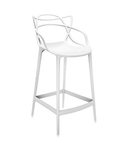 Lot de 2 tabourets courbés en polypropylène Chaise empilable pour intérieur et extérieur