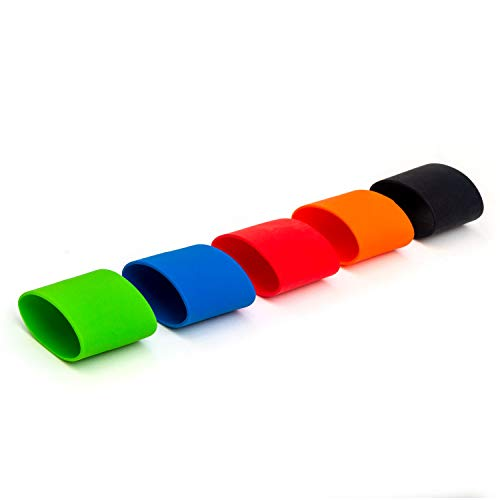 Grifiti Band Joes Grip Band 3 x 2 Inch 5 Pack Long Lasting Silicone Bootle Grip Cooking Grade Heat Cold UV Chemical Resistant Grips for Thermoses, Travel Mugs, Water Bottles