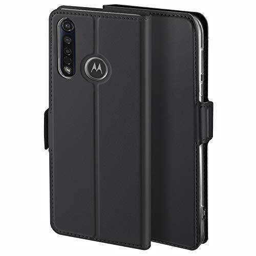 YATWIN Handyhülle für Motorola Moto G8 Plus Hülle Leder Premium Tasche Hülle für Motorola Moto G8 Plus, Schutzhüllen aus Klappetui mit Kreditkartenhaltern, Ständer, Magnetverschluss, Schwarz