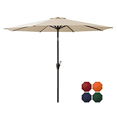 DOMICARE 9 ft Patio Umbrella,Table Umbrella Outdoor Market Umbrella with 8 Ribs, Easy Push Button Tilt and Crank - Navy