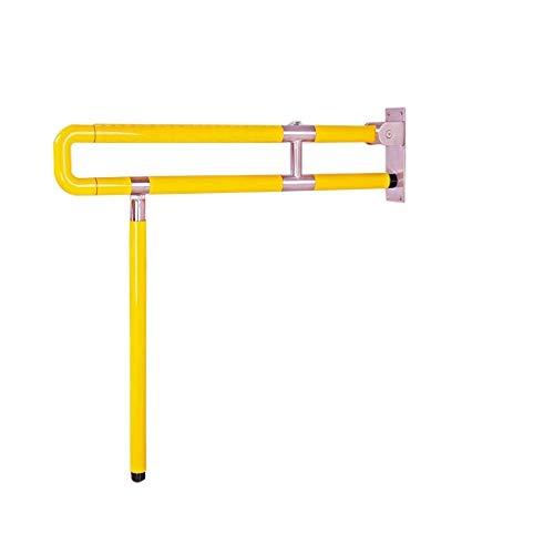 JIAHE115 veiligheidsrooster voor de badkamer, van roestvrij staal + nylon, opvouwbaar, armleuning wit/geel, ruimtebesparend, geschikt voor douche/toilet