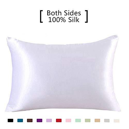 Funda de almohada de seda de morera 100 % pura, 19 Momme Charmeuse en ambos lados, hipoalergénica, con cremallera oculta, 1 unidad, 50 x 75 cm, seda sintética, Blanco, Standard(50x75cm)