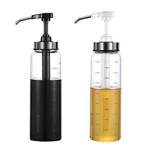 Annfly Juego de 2 botellas de aceite de oliva de cristal, dispensador de vinagre, dispensador de aceite, botella para cocina, hornear, ensalada, barbacoa (500 ml)