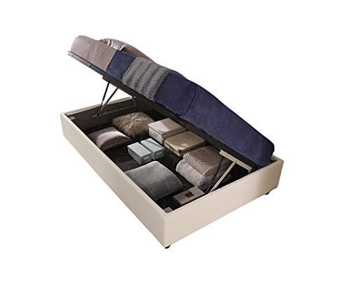 Letti Per Dormire.it - SOMMIER Gold Una Piazza e Mezza - con Box Contenitore alzata laterale Misure 120x190, Rivestimenti SFODERABILI Tessuto Ecopelle Microfibra