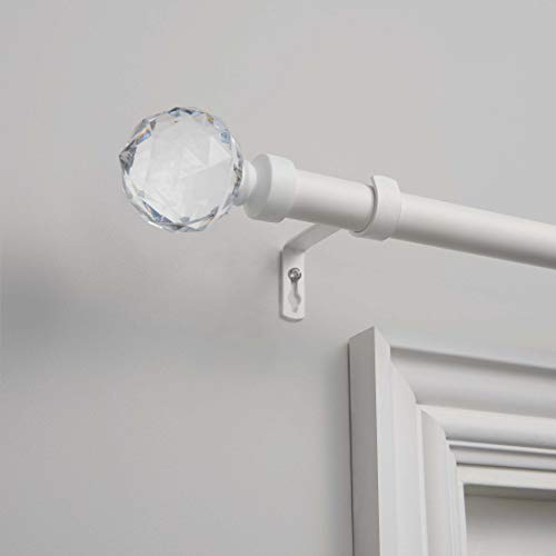 """Exclusive Home Curtains Crystal Ball Curtain Rod and Finial Set, 36""""-72"""", Matte White,ER1013-04 3672"""