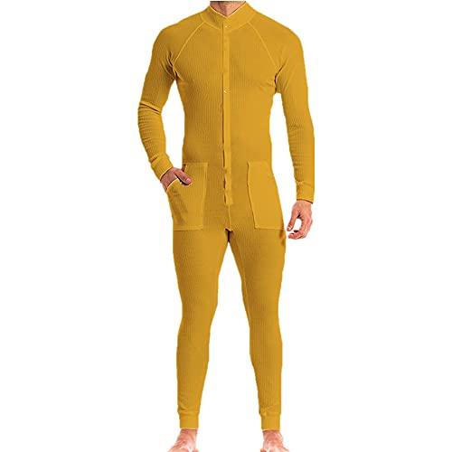 Ocio Manga Larga Fitness Onesies Hombres Color Sólido Acogedor Mono Pijama Hombre Casual Rayas Botones, amarillo, X-Large