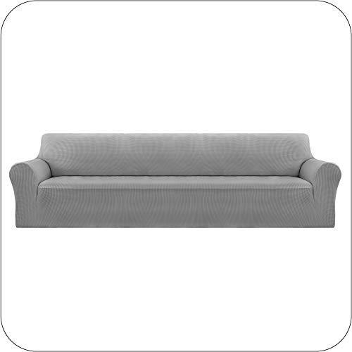 UMI. by Amazon Funda Sofa Suave Elastica de Color Liso 4 Plazas Gris Claro