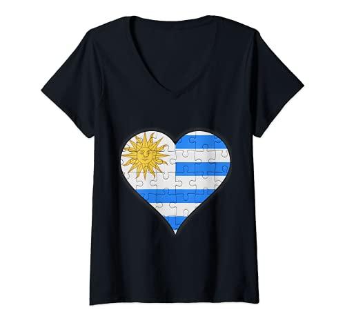 Mujer Corazón de la bandera uruguaya Camiseta Cuello V