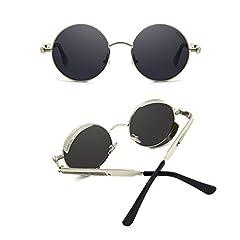 Ronsou Steampunk Style Round Vintage Polarized Sunglasses Retro Eyewear UV400 Protection Matel Frame Black Size: One Size #1