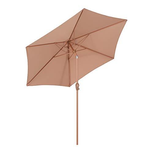 Sekey sombrilla Parasol para terraza jardín Playa Piscina Patio diámetro 270 cm Protector Solar UV50+ Ocre Oscuro