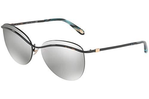 Tiffany & Co. Gafas de Sol TF3057 w/Lente Gris Claro Espejo de Plata de 60 mm 60016V TF3057 TF 3057 TF 3057 Mujer Negro Grande