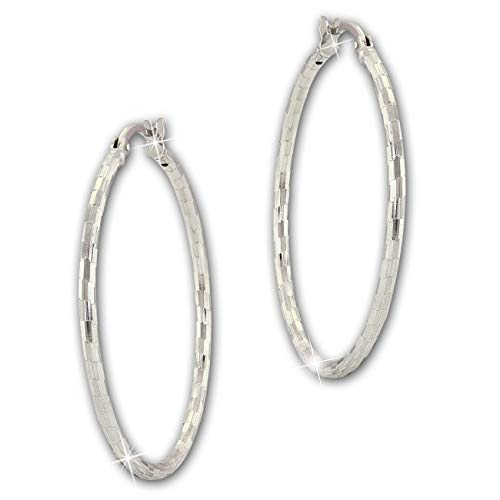 SilberDream Ohrringe Creolen 925 Silber Diamantschliff Damen Schmuck SDO67364 Silber Creole