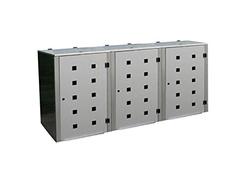 Mülltonnenbox Edelstahl, Modell Eleganza Quad5, 240 Liter als Dreierbox