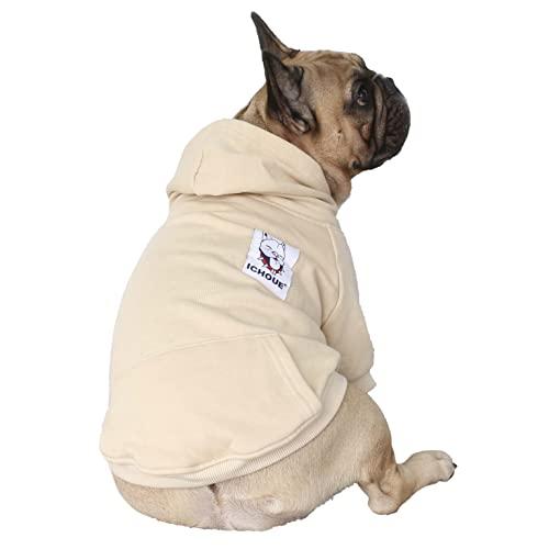 iChoue Pet Clothes Dog Hoodie Hooded Full-Zip Sweatshirt French Bulldog Frenchie Shiba Inu Cotton Winter Warm Coat Clothing - Khaki/Size M