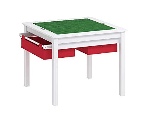 UTEX 2 in 1 Kinder BAU spieltisch mit speicherfächern und gebaut Platte (weiß mit roten drwaer)