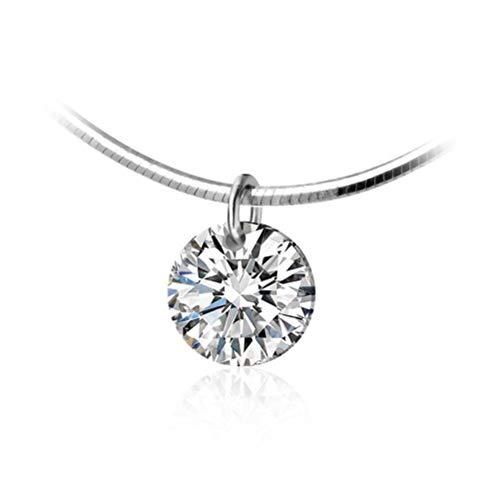 WOZUIMEI S925 Collar de Plata Mujer Simple Dulce Lindo Diamante Únicoplata