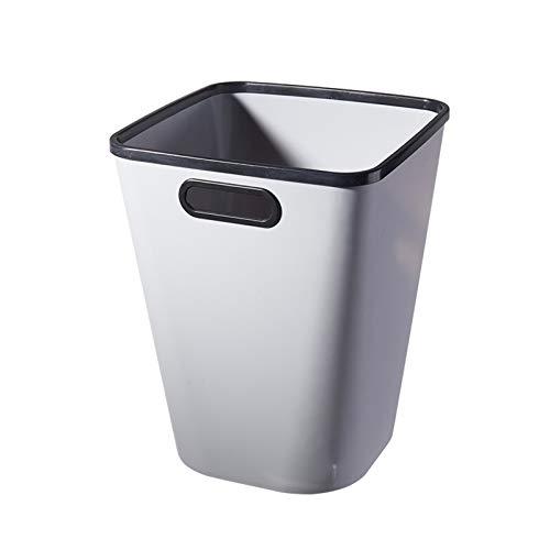 Bote Basura Papel de basura de la basura de la basura simple de la basura sin tapa de la bandeja de reciclaje de papelería plástica creativa for la oficina, sala de estar y dormitorio, 3 colores Cubo