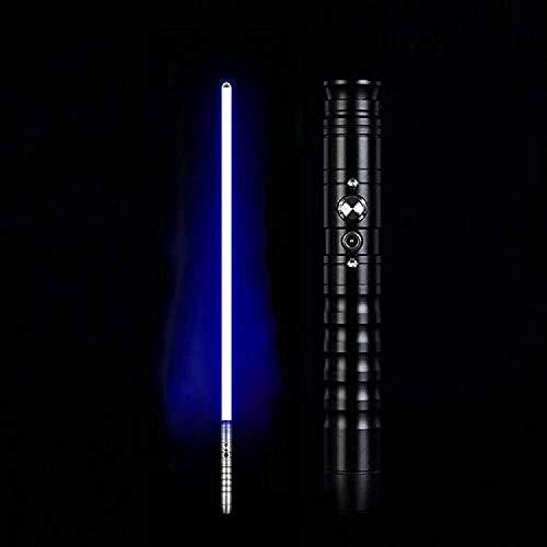 Lichtschwert Metall Duell-Schwert Duell-Schwert Duell-Metallgriff LED USB Wiederaufladbar Darth Maul Lichtschwert für Kinder Geschenk Licht Cosplay Junge Gril Spielzeug, Schwarzer Griff, blau